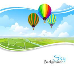 Hot Air Balloons Above Wavy Edge Lawn