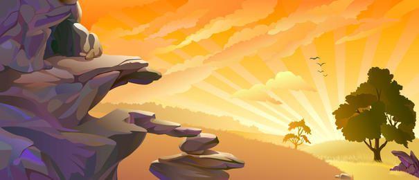 Sunset Sky Landscape com pilhas de pedras