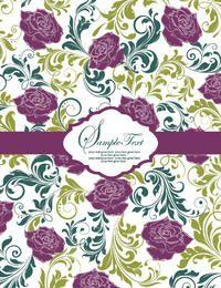 Tarjeta de plantilla de patrón vintage florística