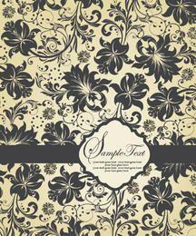 Cartão de convite de modelo padrão floral