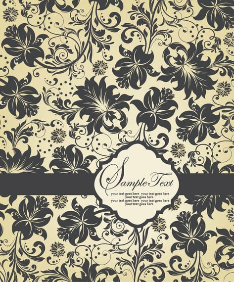 Floral Pattern Template Invitation Card