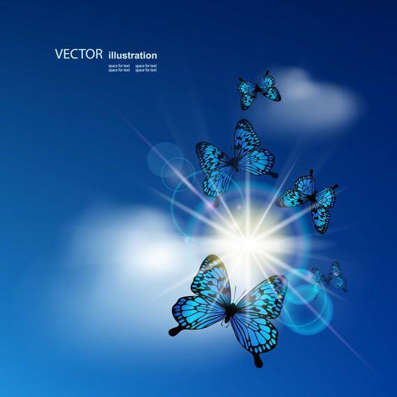 Resplandor de sol brillante en el cielo azul con mariposas