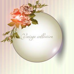 Banner circular brillante con ramo de rosas