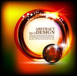 Banner circular brilhante sobre fundo colorido