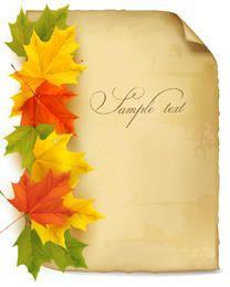Hojas coloridas del arce en el papel viejo sucio