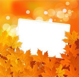 Folhas secas caídas com caixa de mensagem