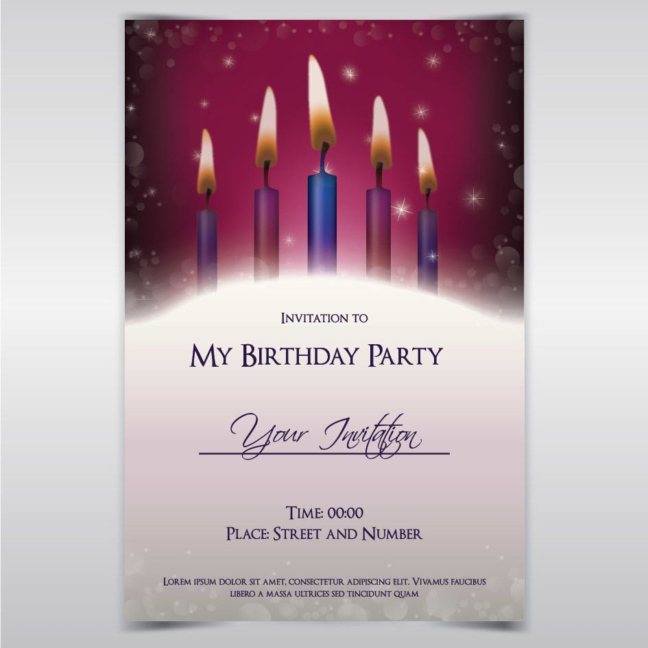 Candle Light Birthday Invitation Template