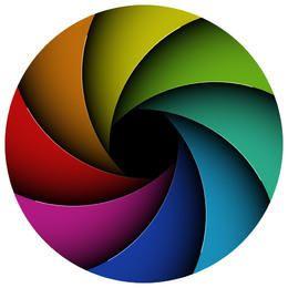 Círculo de vórtice de curvas multicoloras