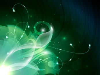 Green Swirly Abstract Floral Corner Background