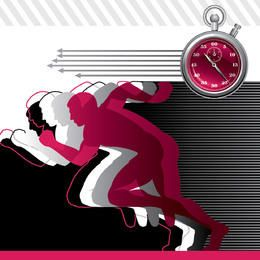 Dynamic Sporting People with Running Clock