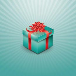 Wrapped Up Gift Box on Starburst Background