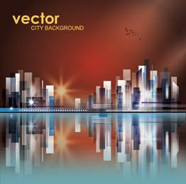 Abstract High Rise City in the Sunset