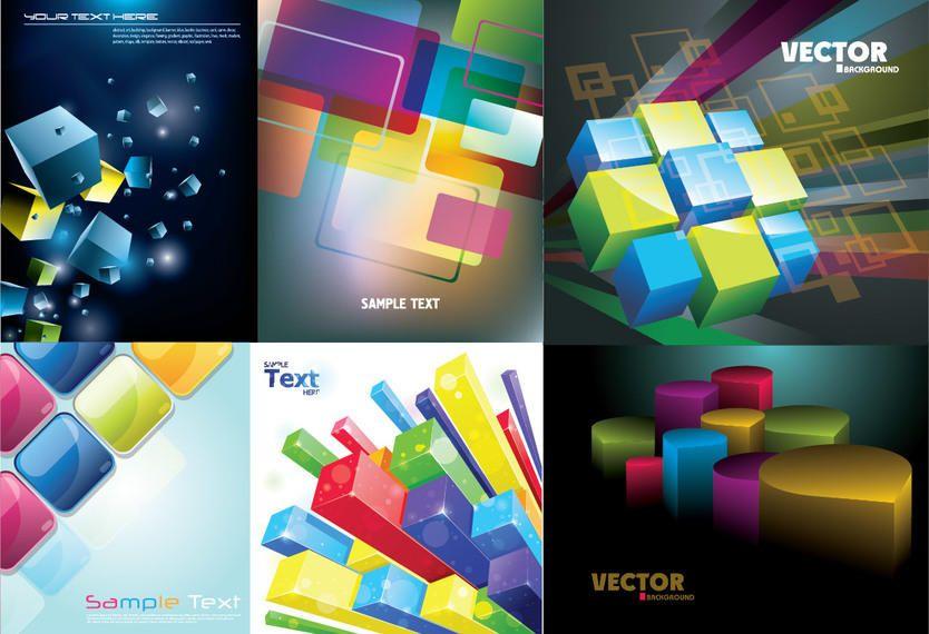 Paquete de fondo de cubos y cuadrados de colores 3D