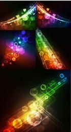 Colorful Bokeh Lights & Hexagons Tech Background Pack