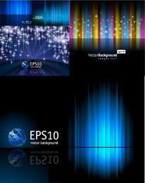 Conjunto de fondo de líneas abstractas y tecnología azul