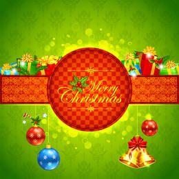 Tarjeta de Navidad florística con paquete de regalo y distintivo