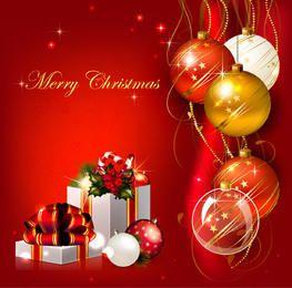 Fondo rojo de Navidad con bolas 3D y cajas de regalo