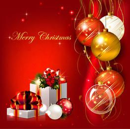 Red Xmas Background with 3D Balls & Gift Boxes