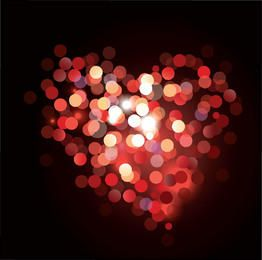 Glowing Colorful Bokeh Heart Valentine Background