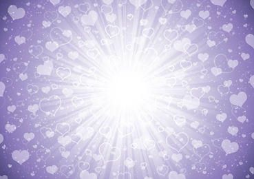 Bursting Light Heart Purple Background