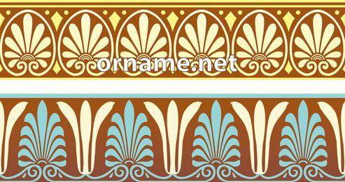 Fronteras de patrones ornamentales griegos