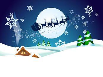 Weihnachtsmann mit Ren in der Weihnachtsnacht