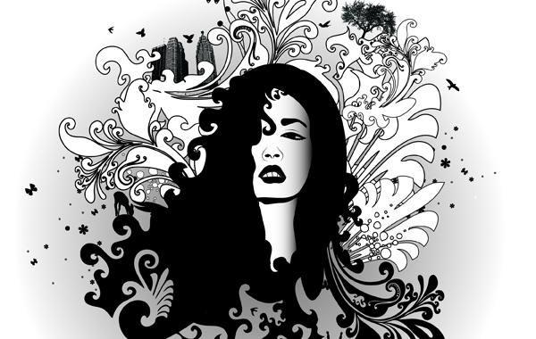 Glamour negro y blanco del remolino