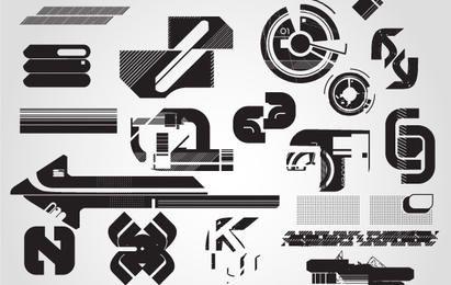Hightech- Schattenbild-Vektor-Symbole