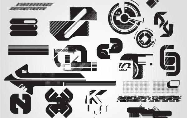 hitech silhouette vector symbols vector download