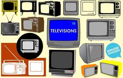 Conjunto de televisão de modelo antigo Vector