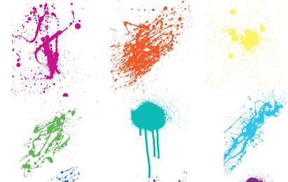 Splatters coloridos loucos do vetor