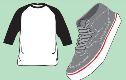 T-shirt em branco e vetor de sapato