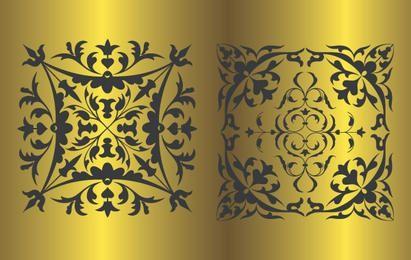 Padrão Floral preto de vetor