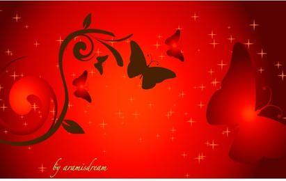 Red Sunset Vector Artwork