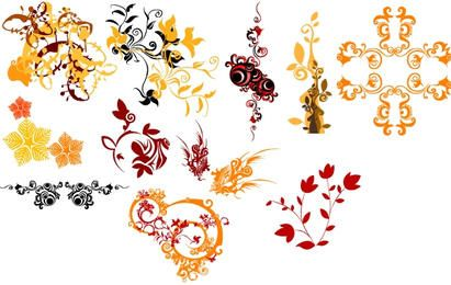 Colorful Floral and Decorative Ornaments