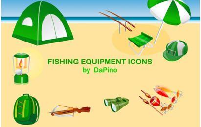 Conjunto de ícones de equipamento de pesca