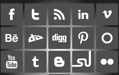 Black & White Social Media Icon Pack