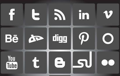 Paquete de iconos de redes sociales en blanco y negro
