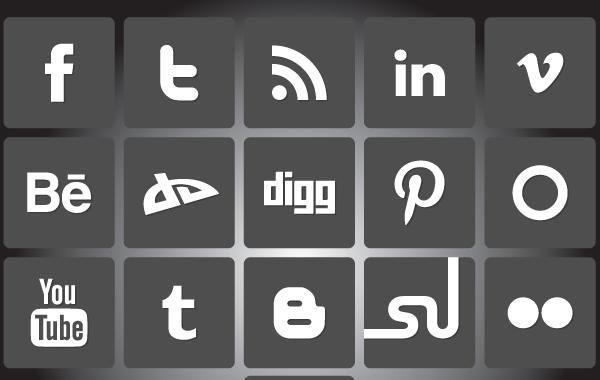 Pacote de ícones de mídia social em preto e branco