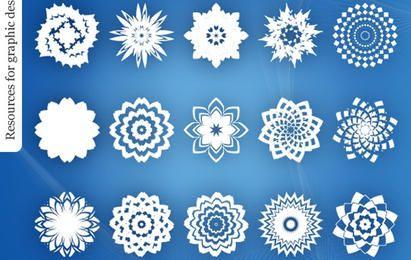 Pacote de flor decorativa abstrata ornamento