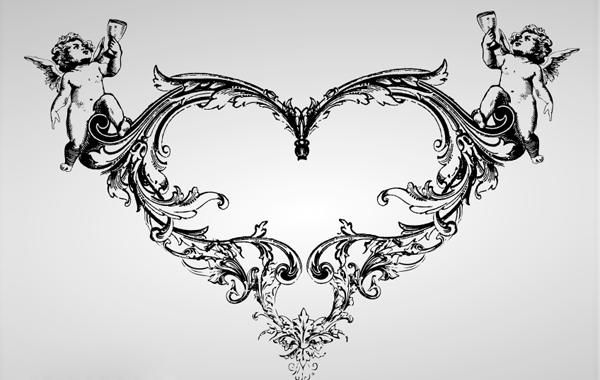 Ornate Vintage Heart with Angel