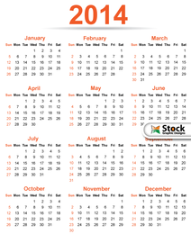 Simple & Classy Template 2014 Calendar