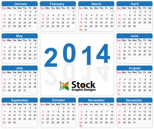 Template Blue Simple 2014 Calendar