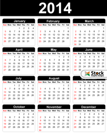 Black & White Simple 2014 Calendar