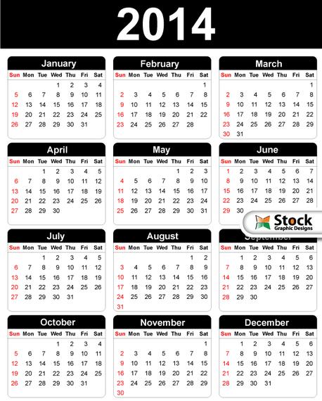 Calendario Vector Blanco.Black White Simple 2014 Calendar Vector Download