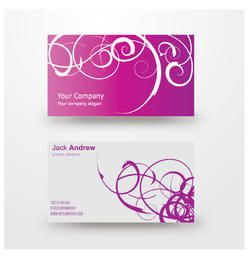 Purple White Swirls Business Card