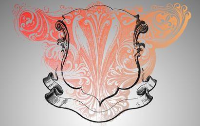 Cresta real con grabado vectorial