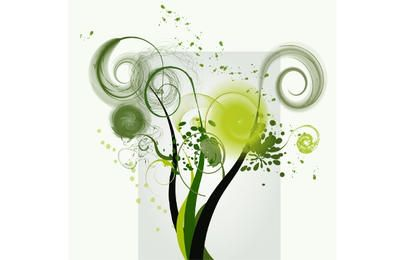 Green Swirl Shape Vector