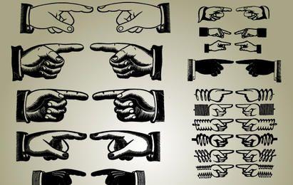 Conjunto de vector de manos apuntando
