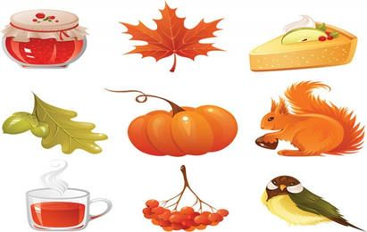 vector autumn icons set